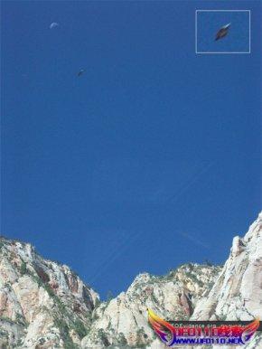 犹他州的锡安国家公园,拍摄的飞碟状物体