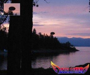 湖边拍摄大的椭圆形不明飞行物