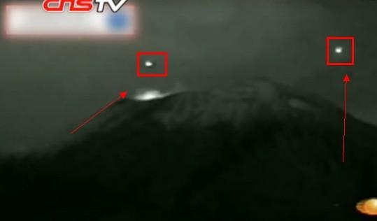 墨西哥火山口惊现ufo视频