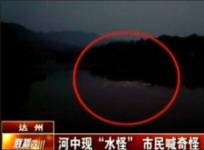 四川达州现水怪 体型庞大掀起巨大水纹